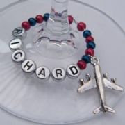 Aeroplane Personalised Wine Glass Charm - Full Bead Style